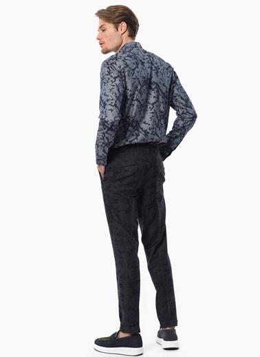 Que Slim Fit Desenli Uzun Kollu Gömlek Lacivert
